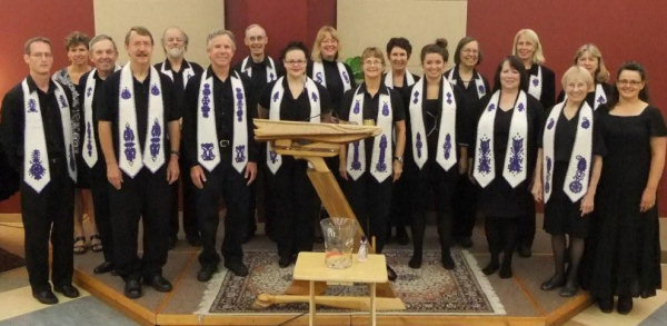 The choir debuts our new stoles from Transylvania